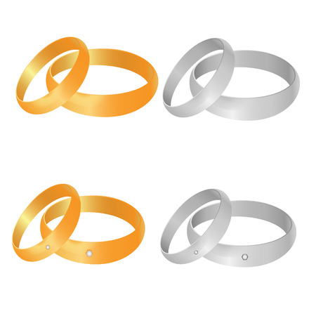 Golden and silver rings set Ilustrace