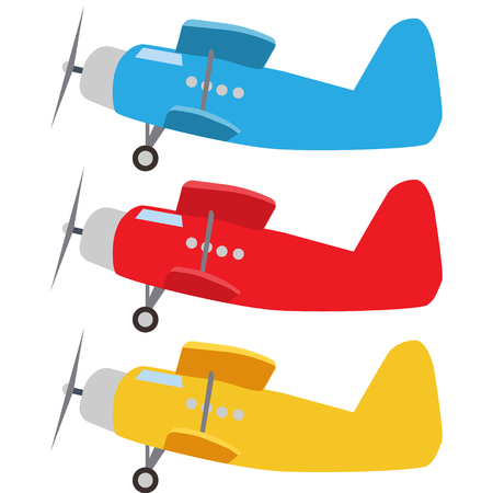 Small set of colorful old plane Illustration