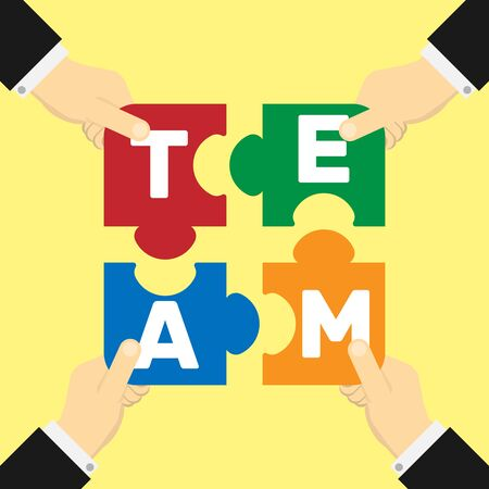 contemplate: Colorful team puzzle elements with hands.