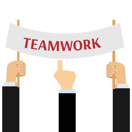 teamwork: Hand holding teamwork banner Illustration