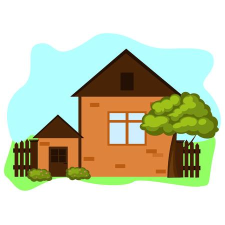 Bruin huis met omheining en bomen Stock Illustratie