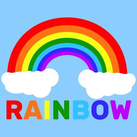 Regenboog op wolken met veelkleurige tekst Stock Illustratie