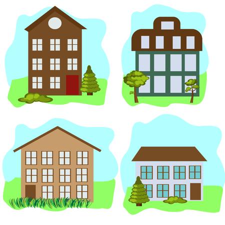 Huizen die met boom, gras en hemel worden geplaatst Stock Illustratie