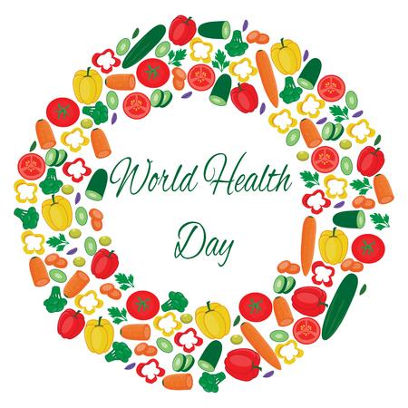 Wereldgezondheidsdag illustratie met groenten