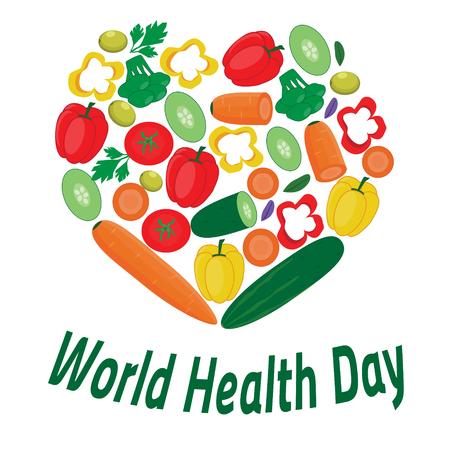 Wereldgezondheidsdag banner. Haard van groenten