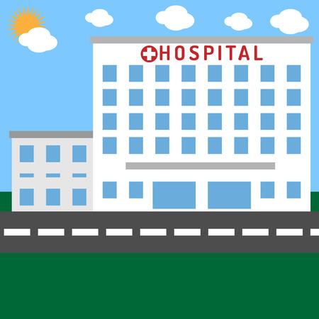 Ziekenhuisgebouw met gras en lucht