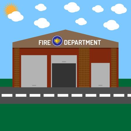Brandweer gebouw zonder auto's Stock Illustratie