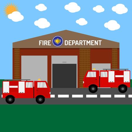 Brandweer gebouw met auto's