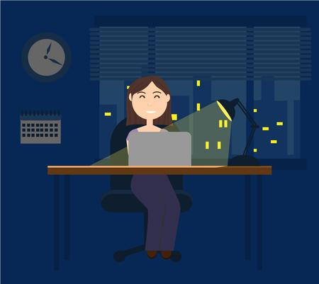 Joven mujer en la oficina de noche