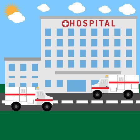Ziekenhuisgebouw met auto's