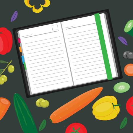 Voedsel copyspace. Notitieblok omringd door groenten Stock Illustratie