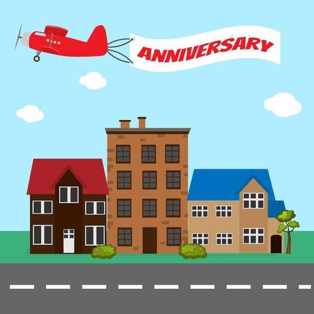 Vliegtuig met verjaardag banner Stock Illustratie