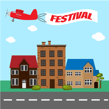 Vliegtuig met festivalbanner