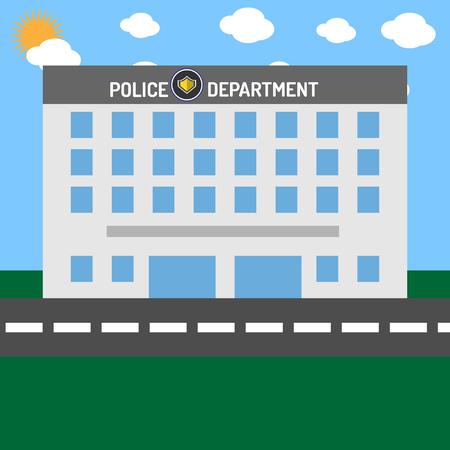 Politie afdeling bouwen zonder auto's Stock Illustratie