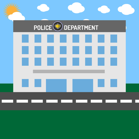 Police department building without cars