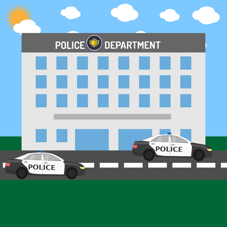 Police department building with cars