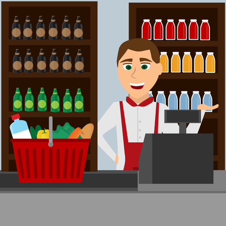 Verkoper in alcoholwinkel Stock Illustratie
