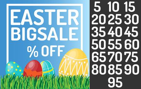 Grote de verkoopbanner van Pasen. Voeg percentage in tekst in Stock Illustratie