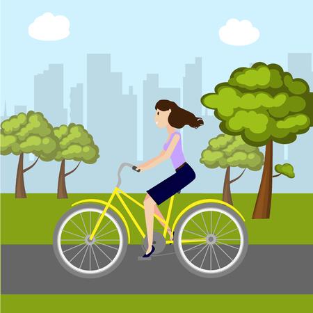Meisje op fiets in park