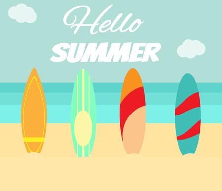 Surfplank op het strand. Hallo zomer briefkaart Stock Illustratie