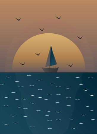 Zonsondergang op zee briefkaart Stock Illustratie