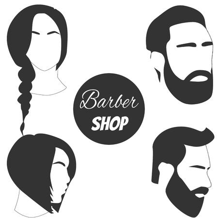 Barbershop-logo. Mannelijke en vrouwelijke schoonheidssalon icoon Stock Illustratie