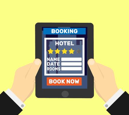 Hotel boeken op tablet Stock Illustratie