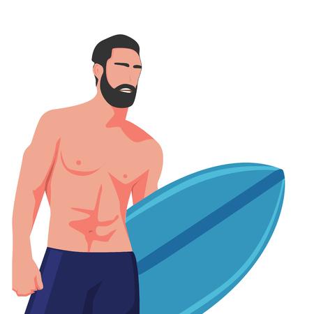 Geïsoleerde hete surfer met bord