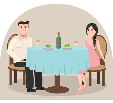 Man en vrouw in restaurant Stock Illustratie
