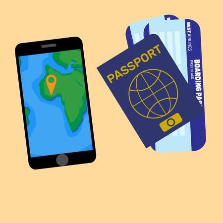 Geïsoleerde telefoon en paspoort met kaartje