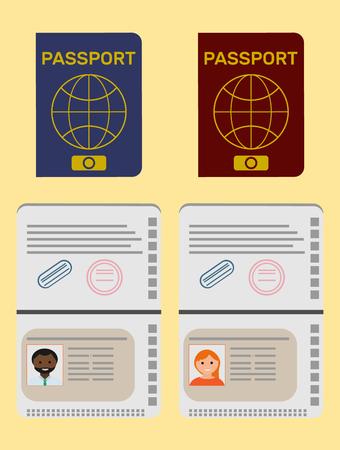 De mens isoleerde open paspoort. De vrouw isoleerde open paspoort