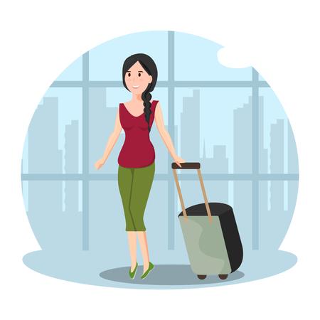 Pretty woman in airport Stock Illustratie