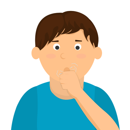 coughing: Boy coughing vector illustration
