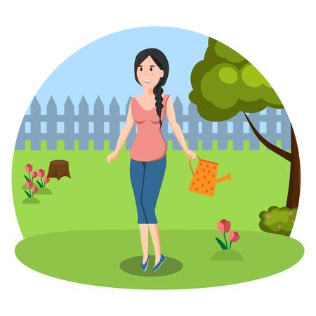 Jonge vrouw in de tuin Stock Illustratie
