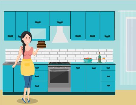 Vrouw met cake op keuken