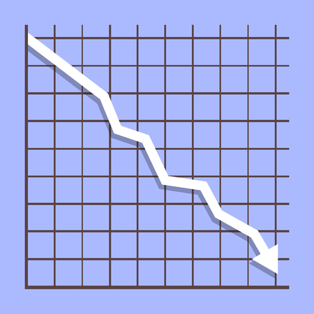 Grafiek omlaag inkomsten pijl negatieve grafiek.