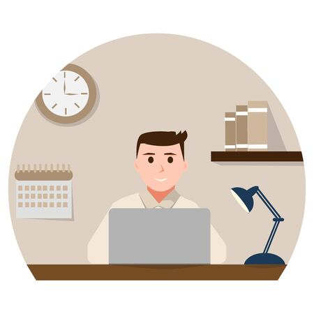 Man werknemer zit op laptop.
