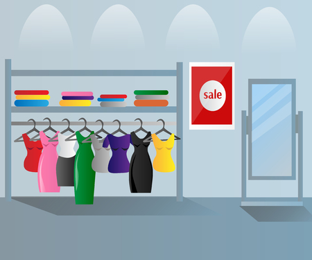 Kledingwinkel binnenkleding verkoop. Stock Illustratie