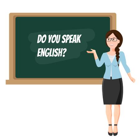 Engelse leraar bij bord op witte achtergrond.
