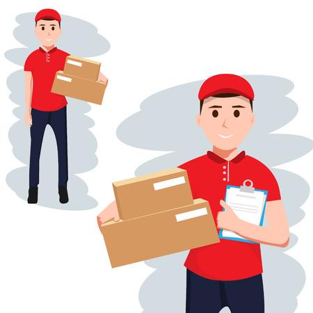 Koerier in rood T-kort met doos