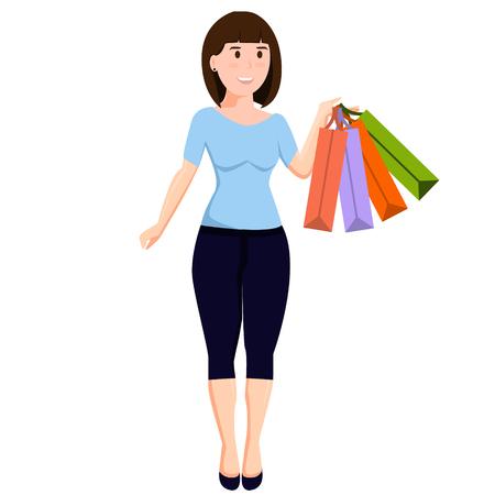 Geïsoleerd meisje met aankopen Stock Illustratie