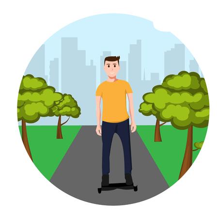 Man op GyroScooter in het park