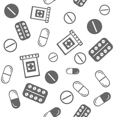 Verschillende pillen naadloze achtergrond Stock Illustratie