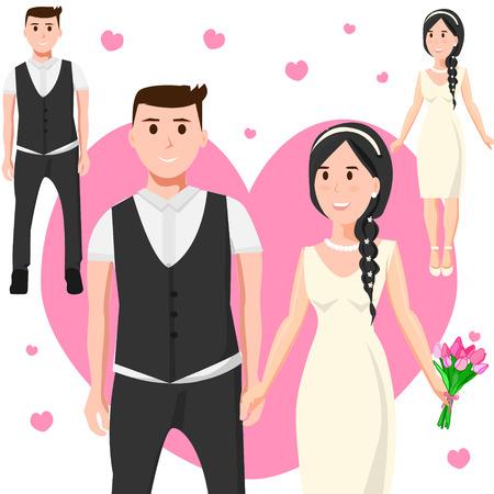 Bruid en bruidegom in de achtergrond van het hart