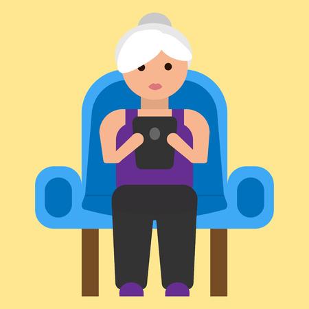 Oude vrouw met tablet op leunstoel