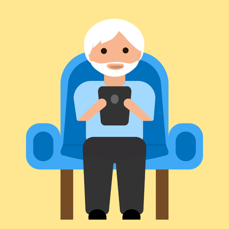 Oude man met een tablet op fauteuil