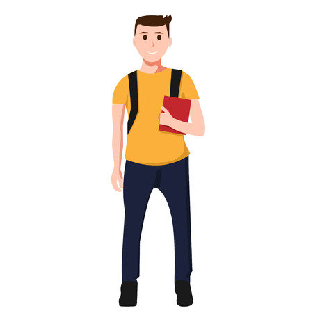 Isolated young man. Student with red book