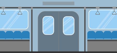 Metro treinbinnenland. Lege ondergrondse wagen