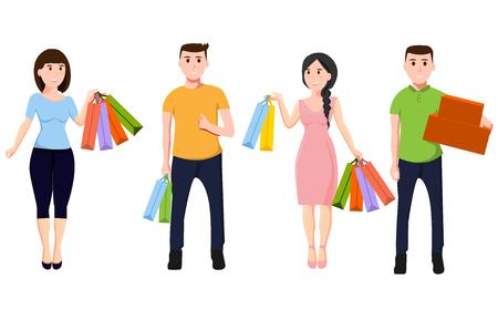 Geïsoleerde mensen met zakken en doos Stock Illustratie