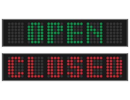 Open en gesloten LED-bord Stock Illustratie